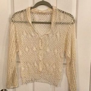 Cream crocheted sweater with sequences